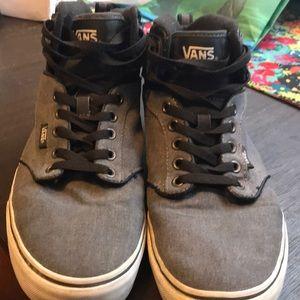 VANS Men's Gray and Black High Top Vans Shoes